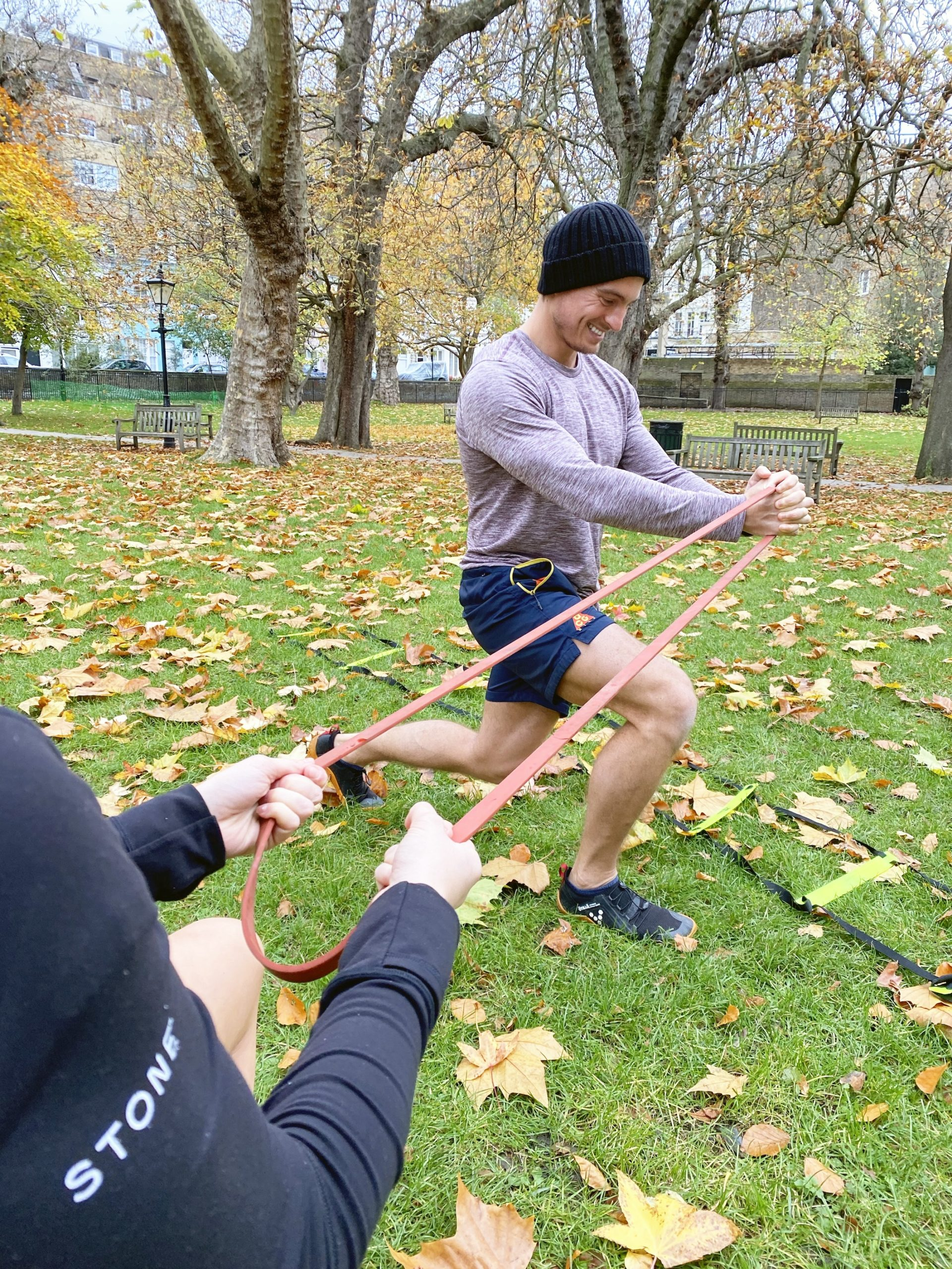 Resistance band training in the park